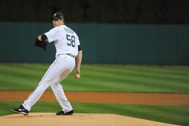 Oct 16, 2013; Detroit, MI, USA; Detroit Tigers starting pitcher Doug Fister (58) throws during warm ups before game four of the American League Championship Series against Boston Red Sox at Comerica Park. Mandatory Credit: Tim Fuller-USA TODAY Sports