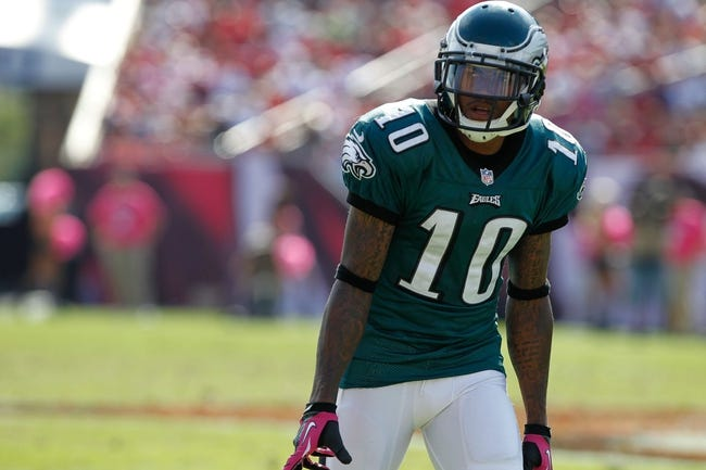 Oct 13, 2013; Tampa, FL, USA; Philadelphia Eagles wide receiver DeSean Jackson (10) against the Tampa Bay Buccaneers during the second half at Raymond James Stadium. Philadelphia Eagles defeated the Tampa Bay Buccaneers 31-20. Mandatory Credit: Kim Klement-USA TODAY Sports