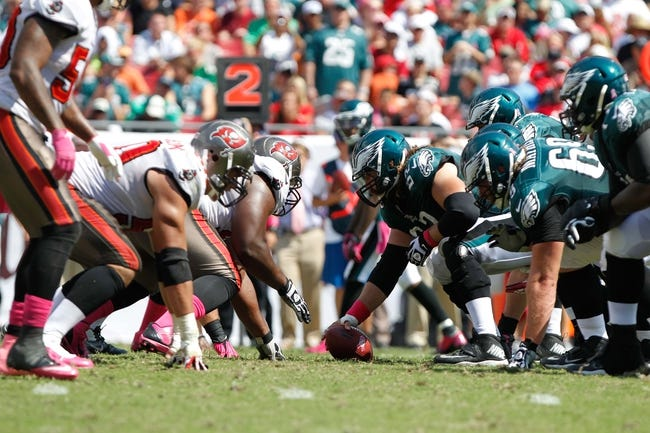 Oct 13, 2013; Tampa, FL, USA; Philadelphia Eagles center Jason Kelce (62) gets ready to hike the ball as he line up on the line of scrimmage against the Tampa Bay Buccaneers during the first half at Raymond James Stadium. Mandatory Credit: Kim Klement-USA TODAY Sports