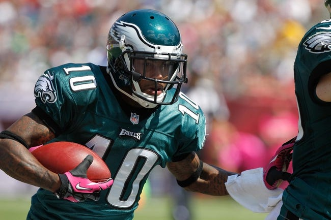 Oct 13, 2013; Tampa, FL, USA; Philadelphia Eagles wide receiver DeSean Jackson (10) runs with the ball against the Tampa Bay Buccaneers during the first half at Raymond James Stadium. Mandatory Credit: Kim Klement-USA TODAY Sports