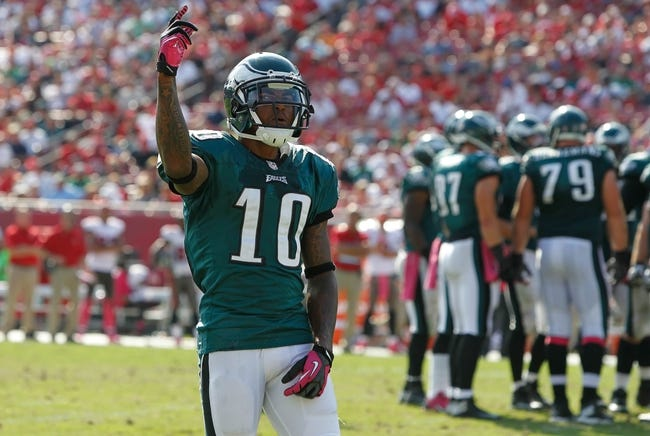 Oct 13, 2013; Tampa, FL, USA; Philadelphia Eagles wide receiver DeSean Jackson (10) gets pumped up against the Tampa Bay Buccaneers during the second half at Raymond James Stadium. Philadelphia Eagles defeated the Tampa Bay Buccaneers 31-20. Mandatory Credit: Kim Klement-USA TODAY Sports