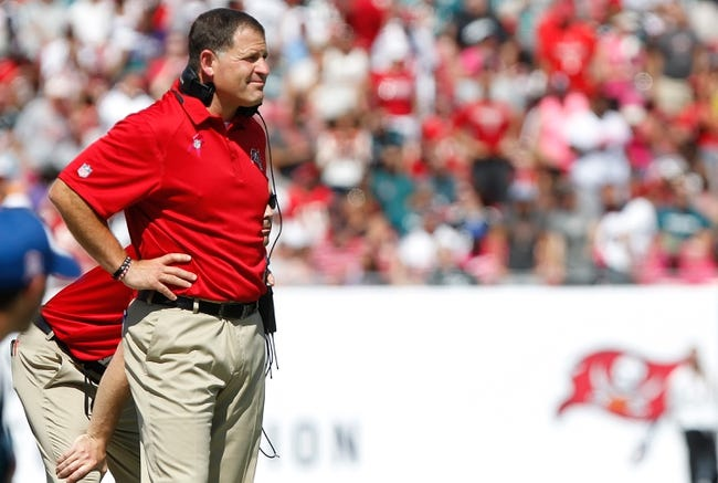 Oct 13, 2013; Tampa, FL, USA; Tampa Bay Buccaneers head coach Greg Schiano against the Philadelphia Eagles during the first half at Raymond James Stadium. Mandatory Credit: Kim Klement-USA TODAY Sports