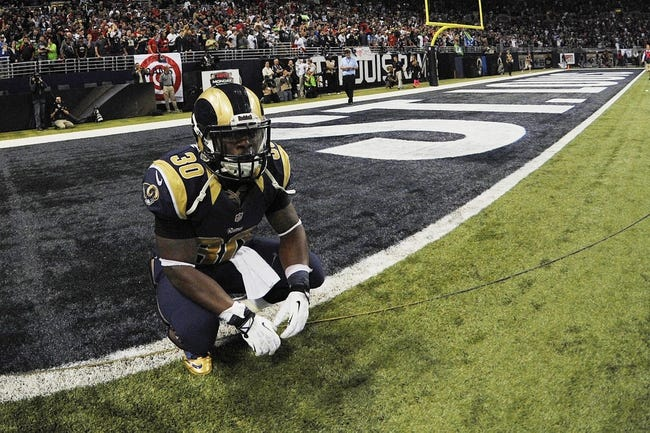 Oct 28, 2013; St. Louis, MO, USA; St. Louis Rams running back Zac Stacy (30) reacts to losing the game between the St. Louis Rams and the Seattle Seahawks at Edward Jones Dome. The Seahawks defeat the Rams 14-9. Mandatory Credit: Jasen Vinlove-USA TODAY Sports