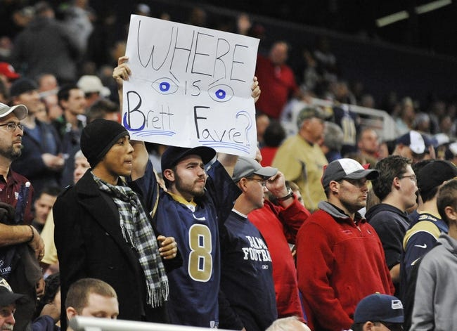 Oct 28, 2013; St. Louis, MO, USA; A St. Louis Rams holds up a sign during the game between the St. Louis Rams and the Seattle Seahawks in the second half at Edward Jones Dome. The Seahawks defeat the Rams 14-9. Mandatory Credit: Jasen Vinlove-USA TODAY Sports