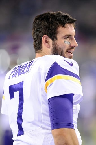 Oct 21, 2013; East Rutherford, NJ, USA; Minnesota Vikings quarterback Christian Ponder (7) warms up before facing the New York Giants at MetLife Stadium.  The Giants won the game 23-7. Mandatory Credit: Joe Camporeale-USA TODAY Sports