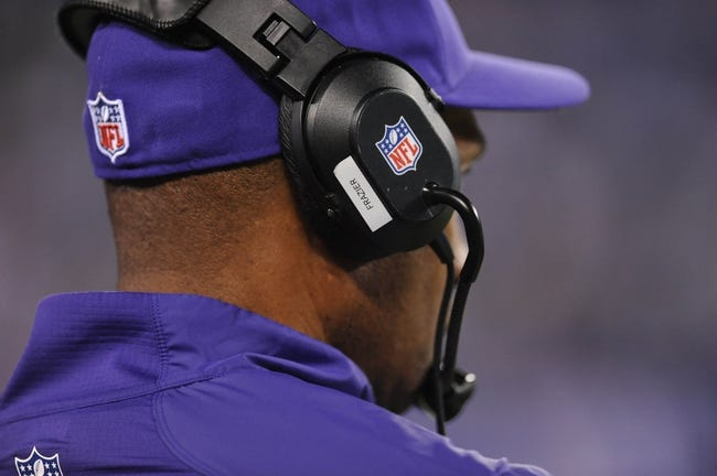 Oct 21, 2013; East Rutherford, NJ, USA; Minnesota Vikings head coach Leslie Frazier looks on against the New York Giants at MetLife Stadium. The Giants won the game 23-7. Mandatory Credit: Joe Camporeale-USA TODAY Sports