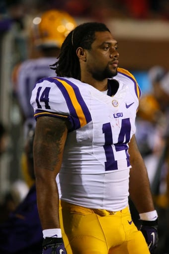 Oct 19, 2013; Oxford, MS, USA; LSU Tigers safety Lionel Williams (14) during the game against the Mississippi Rebels at Vaught-Hemingway Stadium. Mississippi Rebels defeat the LSU Tigers 27-24.  Mandatory Credit: Spruce Derden-USA TODAY Sports