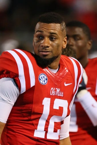 Oct 19, 2013; Oxford, MS, USA; Mississippi Rebels wide receiver Donte Moncrief (12) during the game against the LSU Tigers at Vaught-Hemingway Stadium. Mississippi Rebels defeat the LSU Tigers 27-24.  Mandatory Credit: Spruce Derden-USA TODAY Sports