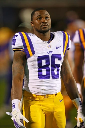 Oct 19, 2013; Oxford, MS, USA; LSU Tigers wide receiver Kadron Boone (86) during the game against the Mississippi Rebels at Vaught-Hemingway Stadium. Mississippi Rebels defeat the LSU Tigers 27-24.  Mandatory Credit: Spruce Derden-USA TODAY Sports