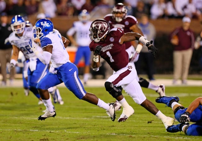 Oct 24, 2013; Starkville, MS, USA; Mississippi State Bulldogs defensive back Nickoe Whitley (1) chases after Kentucky Wildcats running back Ryan Timmons (1) during the game at Davis Wade Stadium. Mississippi State Bulldogs win the game against Kentucky Wildcats 28-22.  Mandatory Credit: Spruce Derden-USA TODAY Sports