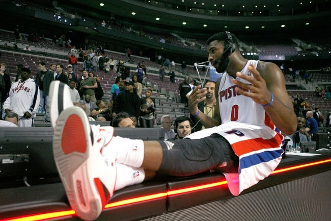 Oct 24, 2013; Auburn Hills, MI, USA; Detroit Pistons center Andre Drummond (0) does an interview after the game against the Minnesota Timberwolves at The Palace of Auburn Hills. Pistons beat the Timberwolves 99-98. Mandatory Credit: Raj Mehta-USA TODAY Sports
