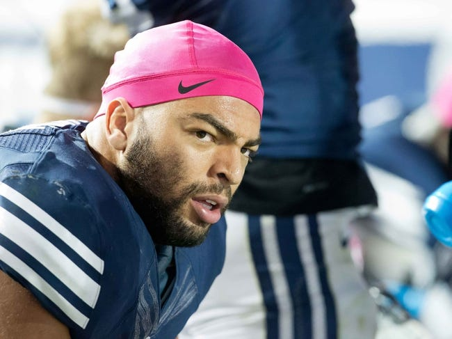 Oct 25, 2013; Provo, UT, USA; Brigham Young Cougars linebacker Kyle Van Noy (3) during the second half against the Boise State Broncos at Lavell Edwards Stadium. Brigham Young won 37-20. Mandatory Credit: Russ Isabella-USA TODAY Sports