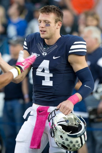 Oct 25, 2013; Provo, UT, USA; Brigham Young Cougars quarterback Taysom Hill (4) prior to a game against the Boise State Broncos at Lavell Edwards Stadium. Brigham Young won 37-20. Mandatory Credit: Russ Isabella-USA TODAY Sports