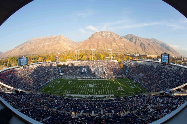 Oct 25, 2013; Provo, UT, USA; A general view of Lavell Edwards Stadium as the Brigham Young Cougars marching band performs prior to a game against the Boise State Broncos. Brigham Young won 37-20. Mandatory Credit: Russ Isabella-USA TODAY Sports