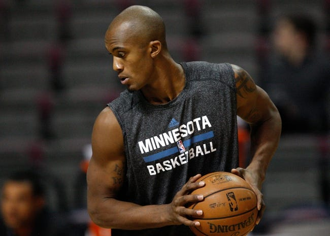 Oct 24, 2013; Auburn Hills, MI, USA; Minnesota Timberwolves power forward Dante Cunningham (33) warms up before the game against the Detroit Pistons at The Palace of Auburn Hills. Mandatory Credit: Raj Mehta-USA TODAY Sports