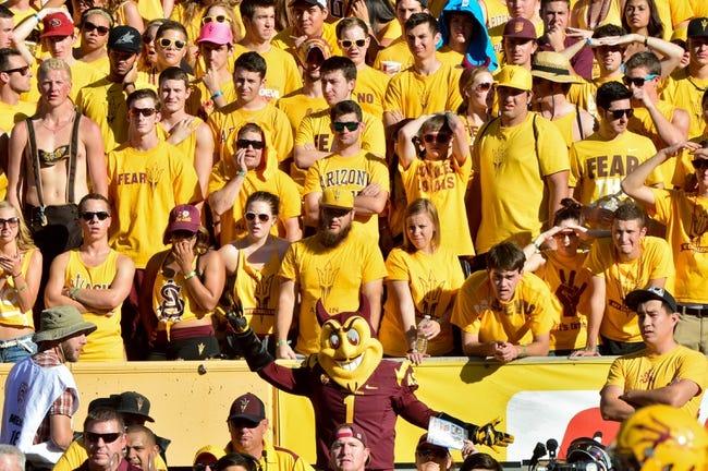 Oct 19, 2013; Tempe, AZ, USA; Arizona State Sun Devils fans during the game against the Washington Huskies at Sun Devil Stadium. Mandatory Credit: Matt Kartozian-USA TODAY Sports