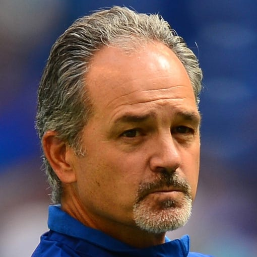 Sep 15, 2013; Indianapolis, IN, USA; Indianapolis Colts head coach Chuck Pagano prior to the game against the Miami Dolphins at Lucas Oil Stadium. Mandatory Credit: Andrew Weber-USA TODAY Sports