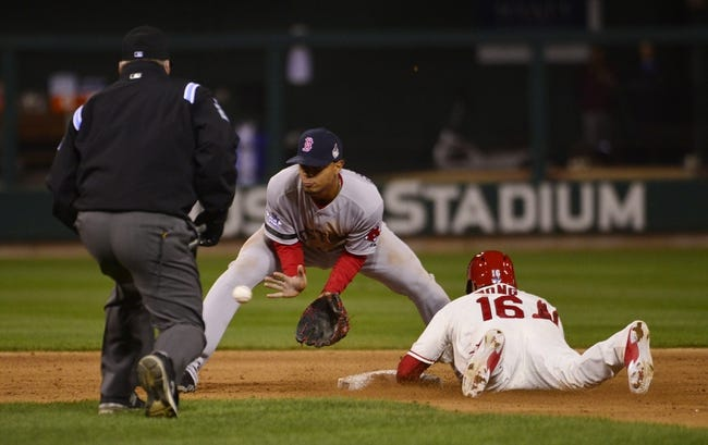 Oct 26, 2013; St. Louis, MO, USA; St. Louis Cardinals second baseman Kolten Wong (16) steals second base ahead of the throw to Boston Red Sox shortstop Xander Bogaerts (middle) in the 8th inning during game three of the MLB baseball World Series at Busch Stadium. Mandatory Credit: Scott Rovak-USA TODAY Sports