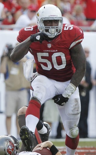 Sep 29, 2013; Tampa, FL, USA; Arizona Cardinals linebacker Dontay Moch (50) during the second half of the game against the Tampa Bay Buccaneers at Raymond James Stadium. Arizona Cardinals defeated the Tampa Bay Buccaneers 13-10. Mandatory Credit: Kim Klement-USA TODAY Sports
