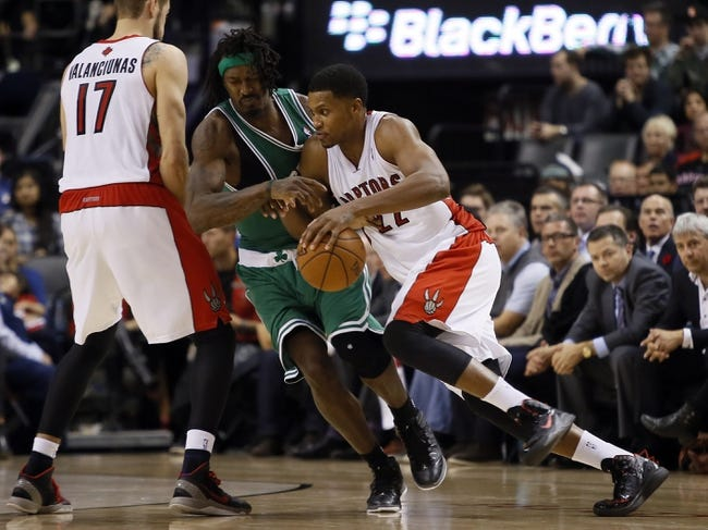 Oct 30, 2013; Toronto, Ontario, CAN; Toronto Raptors forward Rudy Gay (22) drives to the net against Boston Celtics forward Gerald Wallace (45) at the Air Canada Centre. Toronto defeated Boston 93-87. Mandatory Credit: John E. Sokolowski-USA TODAY Sports