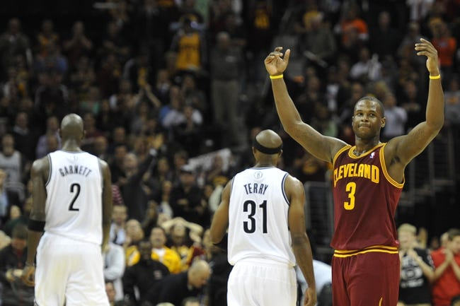 Oct 30, 2013; Cleveland, OH, USA; Cleveland Cavaliers shooting guard Dion Waiters (3) celebrates in the fourth quarter against the Brooklyn Nets at Quicken Loans Arena. Mandatory Credit: David Richard-USA TODAY Sports