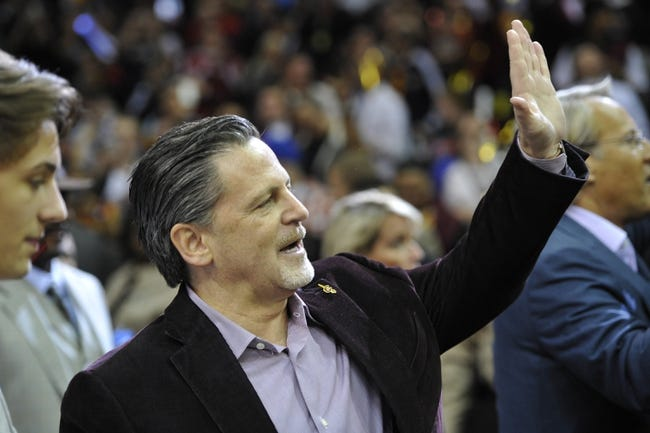 Oct 30, 2013; Cleveland, OH, USA; Cleveland Cavaliers owner Dan Gilbert celebrates a 98-94 win over the Brooklyn Nets at Quicken Loans Arena. Mandatory Credit: David Richard-USA TODAY Sports