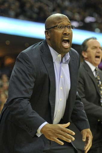 Oct 30, 2013; Cleveland, OH, USA; Cleveland Cavaliers head coach Mike Brown yells in the first quarter against the Brooklyn Nets at Quicken Loans Arena. Mandatory Credit: David Richard-USA TODAY Sports
