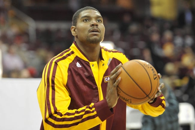 Oct 30, 2013; Cleveland, OH, USA; Cleveland Cavaliers center Andrew Bynum warms up prior to a game against the Brooklyn Nets at Quicken Loans Arena. Mandatory Credit: David Richard-USA TODAY Sports