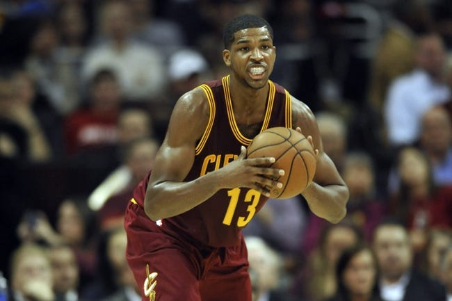 Oct 30, 2013; Cleveland, OH, USA; Cleveland Cavaliers power forward Tristan Thompson (13) looks to pass in the third quarter against the Brooklyn Nets at Quicken Loans Arena. Mandatory Credit: David Richard-USA TODAY Sports