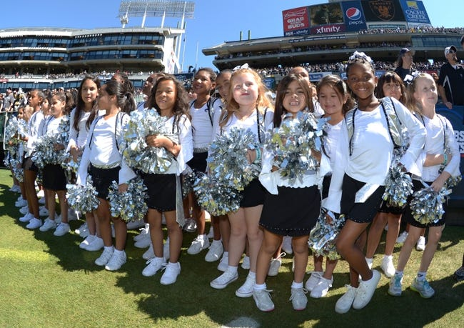 Sep 15, 2013; Oakland, CA, USA; Oakland Raiders youth junior cheerleaders during the game against the Jacksonville Jaguars at O.co Coliseum. Mandatory Credit: Kirby Lee-USA TODAY Sports