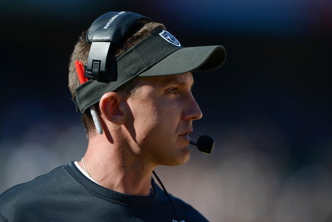 Sep 15, 2013; Oakland, CA, USA; Oakland Raiders coach Dennis Allen reacts during the game against the Jacksonville Jaguars at O.co Coliseum. Mandatory Credit: Kirby Lee-USA TODAY Sports