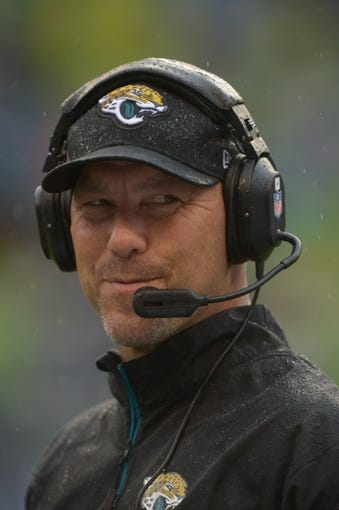 Sep 22, 2013; Seattle, WA, USA; Jacksonville Jaguars coach Gus Bradley during the game against the Seattle Seahawks at CenturyLink Field. The Seahawks defeated the Jaguars 45-17. Mandatory Credit: Kirby Lee-USA TODAY Sports