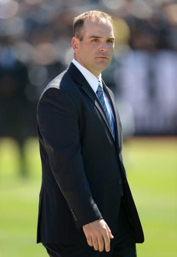 Sep 15, 2013; Oakland, CA, USA; Jacksonville Jaguars general manager David Caldwell during the game against the Oakland Raiders at O.co Coliseum. The Raiders defeated the Jaguars 19-9. Mandatory Credit: Kirby Lee-USA TODAY Sports