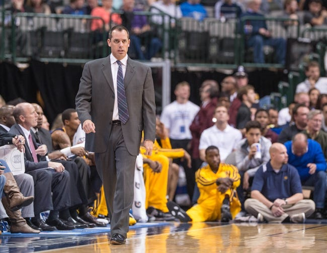 Oct 25, 2013; Dallas, TX, USA; Indiana Pacers head coach Frank Vogel watches his team take on the Dallas Mavericks during the game at the American Airlines Center. The Pacers defeated the Mavericks 98-77. Mandatory Credit: Jerome Miron-USA TODAY Sports