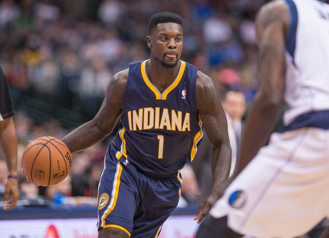 Oct 25, 2013; Dallas, TX, USA; Indiana Pacers shooting guard Lance Stephenson (1) brings the ball up the court during the game against the Dallas Mavericks at the American Airlines Center. The Pacers defeated the Mavericks 98-77. Mandatory Credit: Jerome Miron-USA TODAY Sports