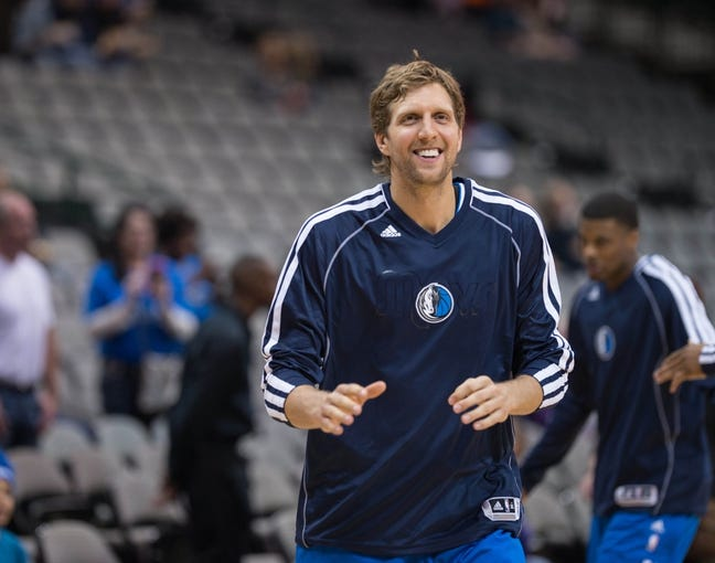 Oct 25, 2013; Dallas, TX, USA; Dallas Mavericks power forward Dirk Nowitzki (41) warms up before the game against the Indiana Pacers at the American Airlines Center. The Pacers defeated the Mavericks 98-77. Mandatory Credit: Jerome Miron-USA TODAY Sports