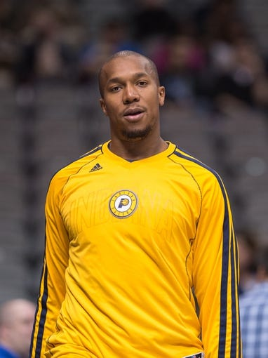 Oct 25, 2013; Dallas, TX, USA; Indiana Pacers power forward David West (21) warms up before the game against the Dallas Mavericks at the American Airlines Center. The Pacers defeated the Mavericks 98-77. Mandatory Credit: Jerome Miron-USA TODAY Sports