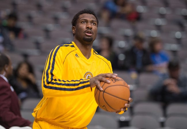 Oct 25, 2013; Dallas, TX, USA; Indiana Pacers small forward Solomon Hill (9) warms up before the game against the Dallas Mavericks at the American Airlines Center. The Pacers defeated the Mavericks 98-77. Mandatory Credit: Jerome Miron-USA TODAY Sports