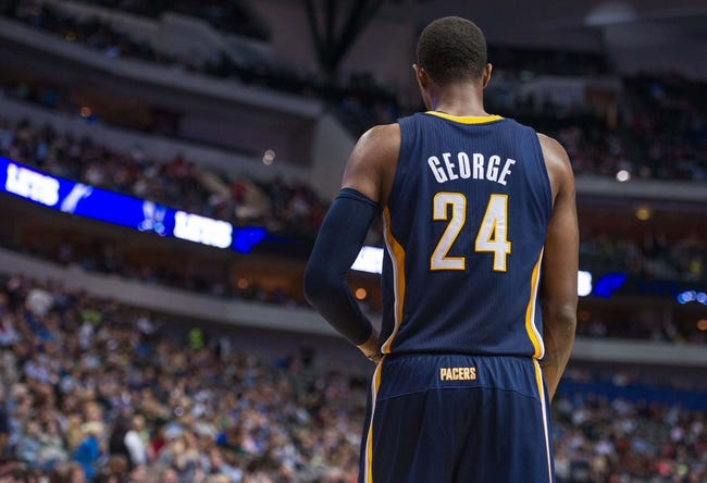 Oct 25, 2013; Dallas, TX, USA; Indiana Pacers shooting guard Paul George (24) during the game against the Dallas Mavericks at the American Airlines Center. The Pacers defeated the Mavericks 98-77. Mandatory Credit: Jerome Miron-USA TODAY Sports