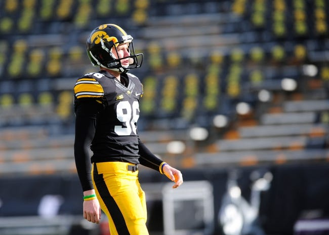 Oct 26, 2013; Iowa City, IA, USA; Iowa Hawkeyes kicker Mike Meyer (96) warms up prior to game against the Nothwestern Wildcats at Kinnick Stadium. Mandatory Credit: Byron Hetzler-USA TODAY Sports