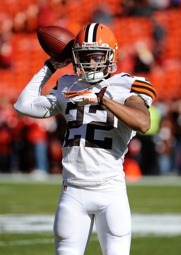 Oct 27, 2013; Kansas City, MO, USA; Cleveland Browns cornerback Buster Skrine (22) warms up before the game against the Kansas City Chiefs at Arrowhead Stadium. The Chiefs won the game 23-17. Mandatory Credit: John Rieger-USA TODAY Sports