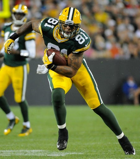 Aug 23, 2013; Green Bay, WI, USA;  Green Bay Packers tight end Andrew Quarless (81) during the game against the Seattle Seahawks at Lambeau Field. Mandatory Credit: Benny Sieu-USA TODAY Sports