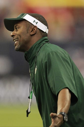 Oct 31, 2013; Houston, TX, USA; South Florida Bulls head coach Willie Taggart argues a call against the Houston Cougars during the second half at Reliant Stadium. Houston won 35-23. Mandatory Credit: Thomas Campbell-USA TODAY Sports