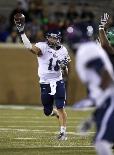 Oct 31, 2013; Denton, TX, USA; Rice Owls quarterback Taylor McHargue (16) passes the ball during the second half against the North Texas Mean Green at Apogee Stadium. The Mean Green defeated the Owls 28-16. Mandatory Credit: Jerome Miron-USA TODAY Sports