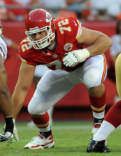 Aug 16, 2013; Kansas City, MO, USA; Kansas City Chiefs offensive tackle Eric Fisher (72) during the game against the San Francisco 49ers at Arrowhead Stadium. Mandatory Credit: Denny Medley-USA TODAY Sports