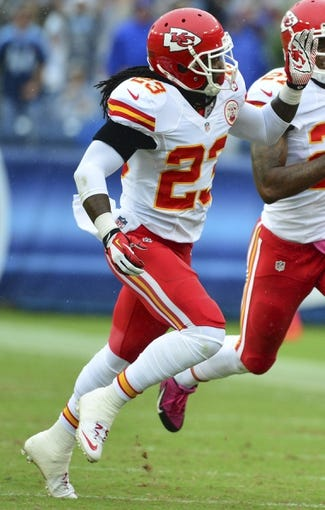 Oct 6, 2013; Nashville, TN, USA; Kansas City Chiefs safety Kendrick Lewis (23) during the first half of the game against the Tennessee Titans at LP Field. The Chiefs beat the Titans 26-17. Mandatory Credit: Don McPeak-USA TODAY Sports