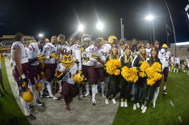 Oct 31, 2013; Pullman, WA, USA; Arizona State Sun Devils mascot Sparky and cheerleaders pose with players after the game against the Washington State Cougars at Martin Stadium. Arizona State defeated Washington State 55-21. Mandatory Credit: Kirby Lee-USA TODAY Sports