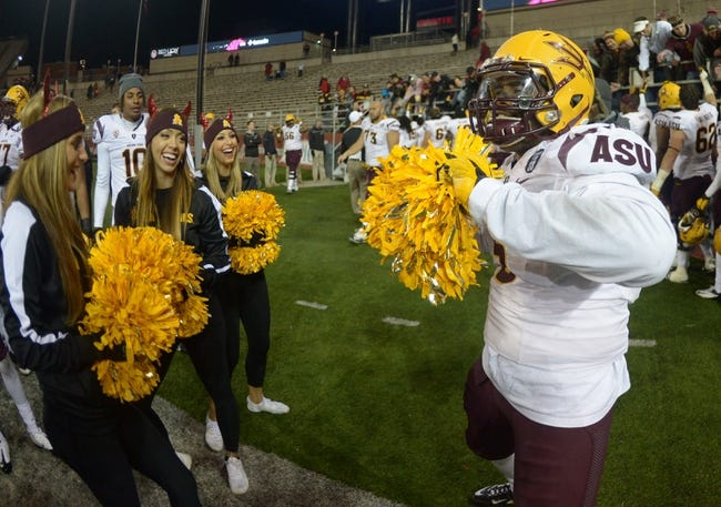 Oct 31, 2013; Pullman, WA, USA; Arizona State Sun Devils linebacker Chris Young (5) dances with cheerleaders after the game against the Washington State Cougars at Martin Stadium. Arizona State defeated Washington State 55-21. Mandatory Credit: Kirby Lee-USA TODAY Sports