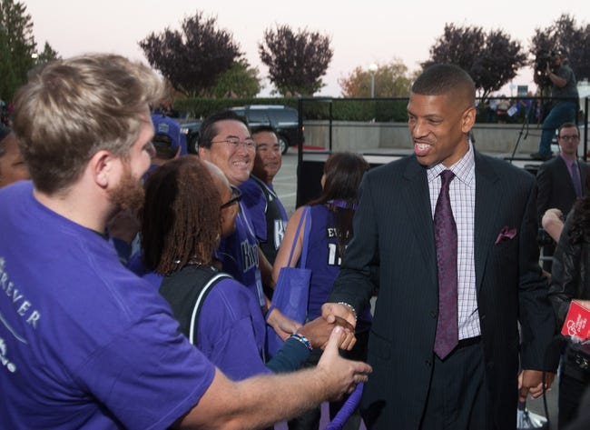 Oct 30, 2013; Sacramento, CA, USA; Sacramento mayor Kevin Johnson shakes hands with fans upon his arrival to  Sleep Train Arena for the game between the Sacramento Kings and Denver Nuggets. Mandatory Credit: Ed Szczepanski-USA TODAY Sports