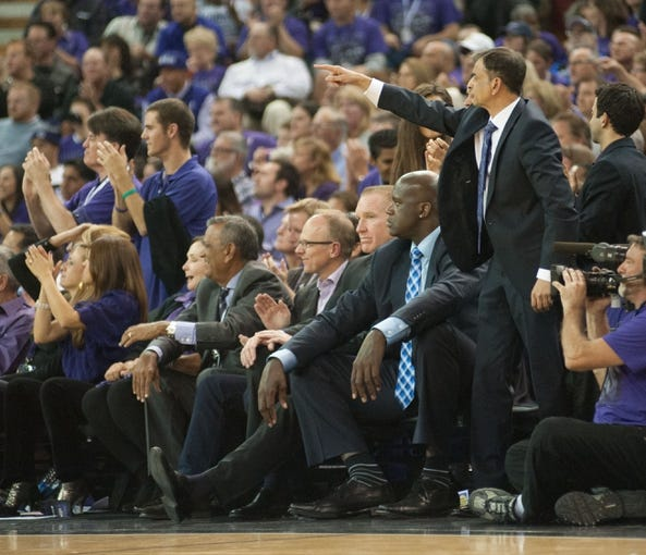 Oct 30, 2013; Sacramento, CA, USA; Sacramento Kings owner Vivek Ranadive reacts after the Kings scored against the Denver Nuggets during the fourth quarter at Sleep Train Arena. Mandatory Credit: Ed Szczepanski-USA TODAY Sports